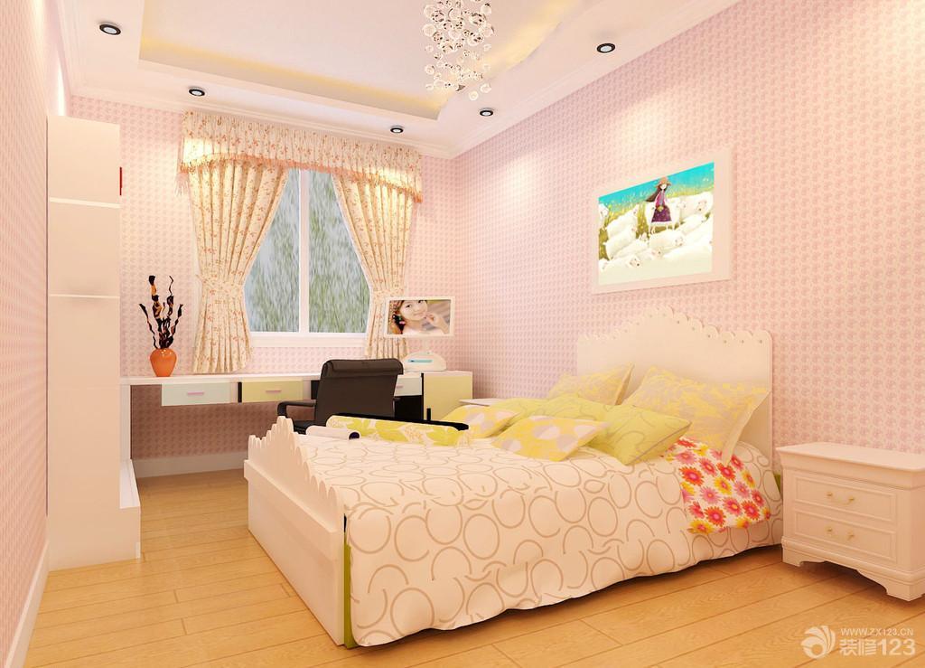 温馨儿童卧室兼书房装修图片