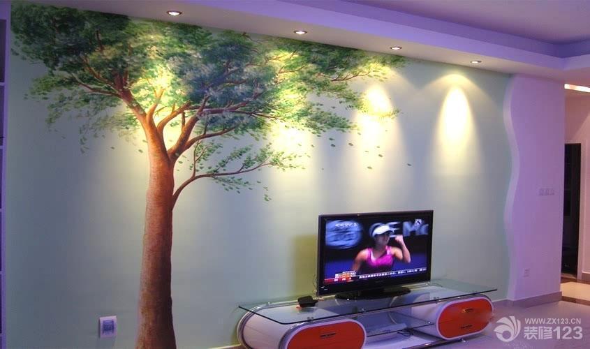 3d手绘家庭电视背景墙装修效果图片