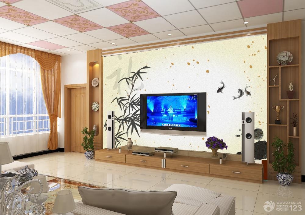 中式客厅手绘电视背景墙装修效果图