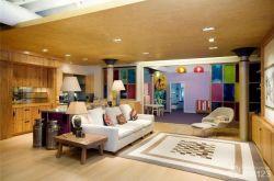 北歐風格大客廳木質吊頂設計圖片