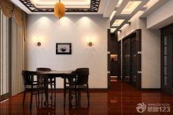 家庭餐廳深褐色木地板設計圖