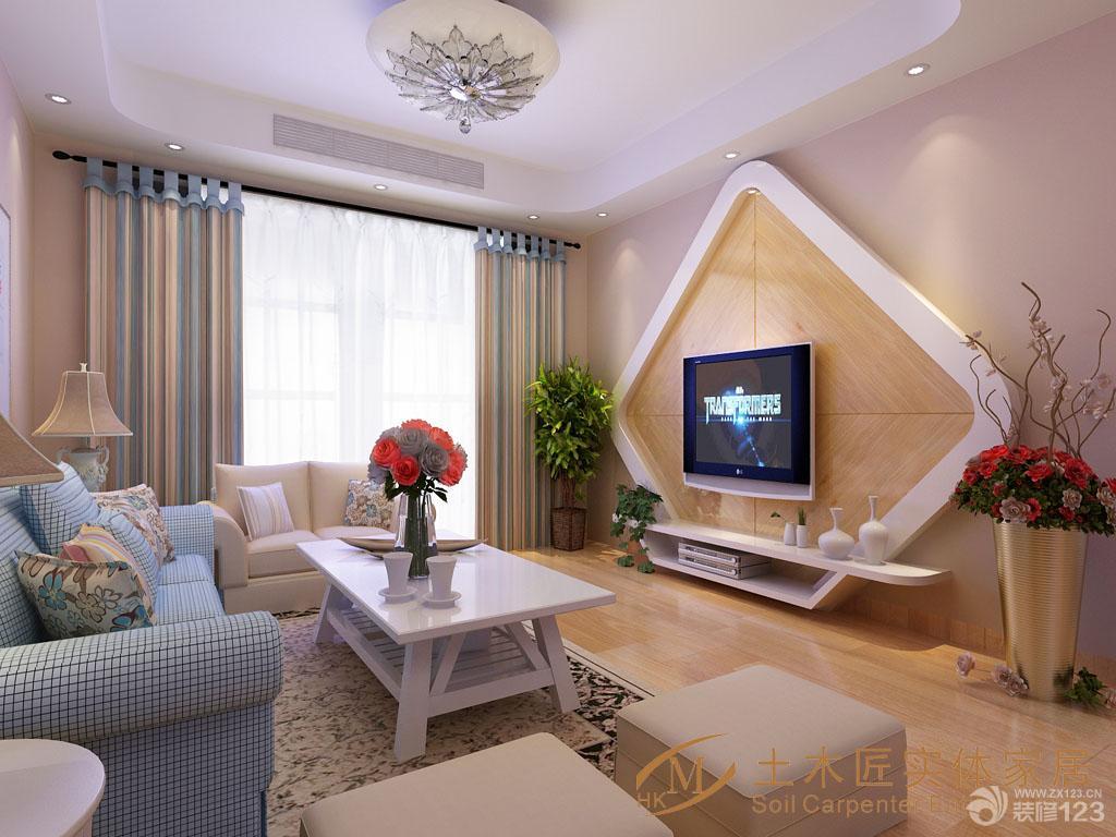 现代设计风格正方形客厅家庭电视背景墙效果图