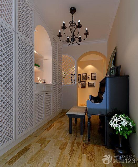 现代美式钢琴房浅褐色木地板装修图_装修123效果图