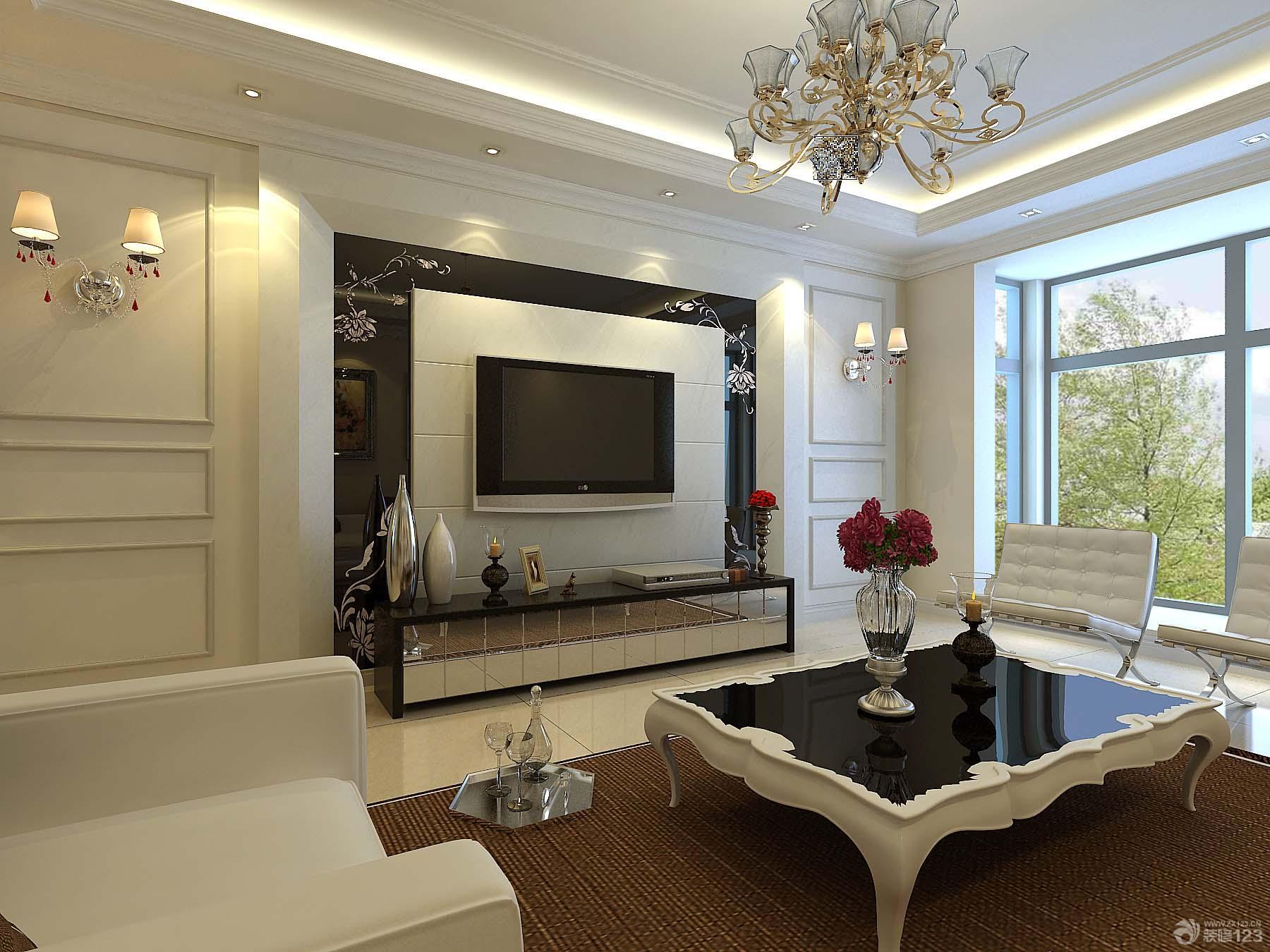 简欧式家居新房6平米客厅电视背景墙装修效果图