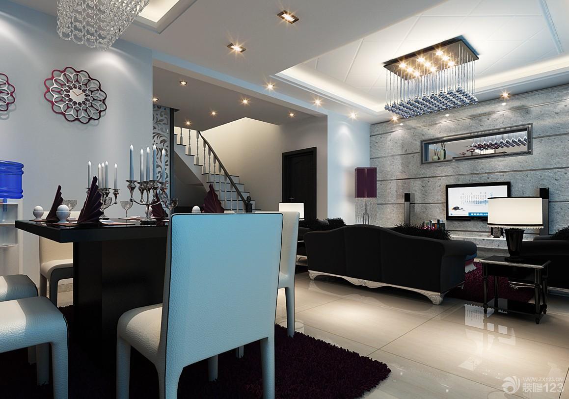 经典时尚跃层房子客厅餐厅一体装修效果图