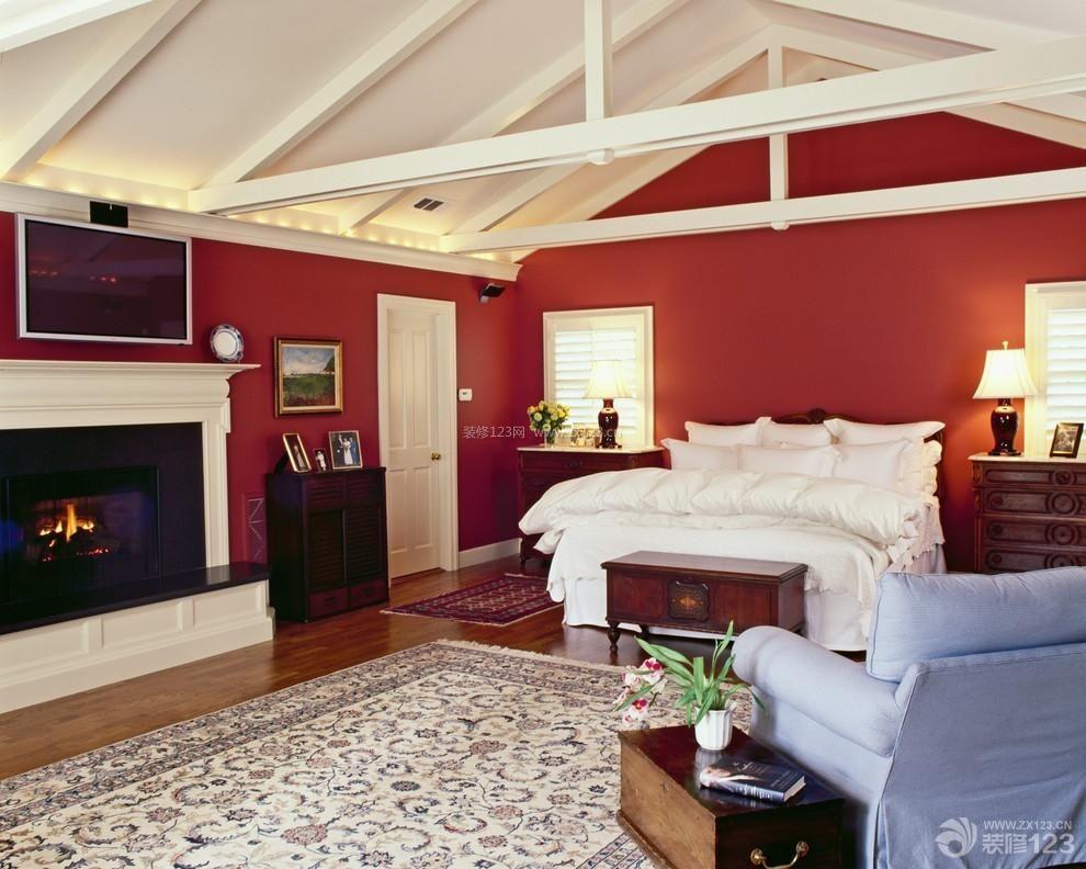 英式温馨尖顶阁楼卧室装修实景图-家庭温馨装修日本客厅2014装修效