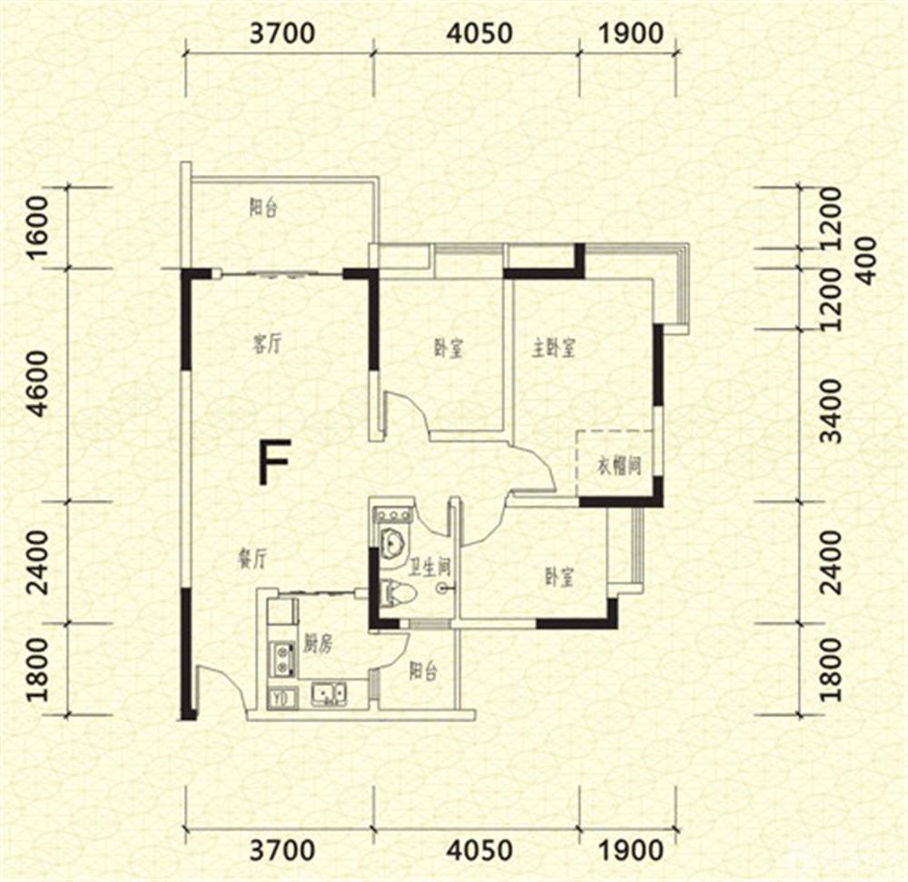 紫郡长安90平米三居室平面图