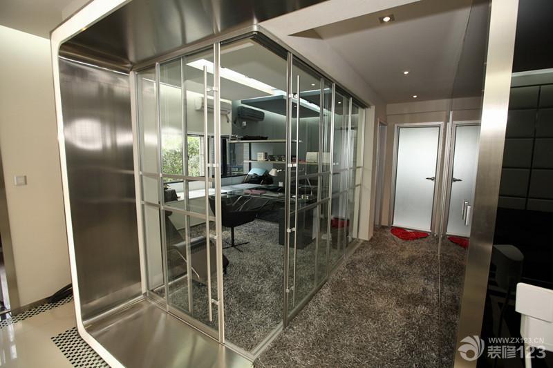 2014最新复式楼家装客厅电视背景墙隐形门设计图片图片