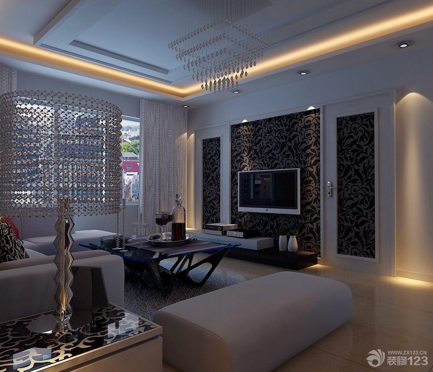 时尚客厅电视背景墙隐形门设计