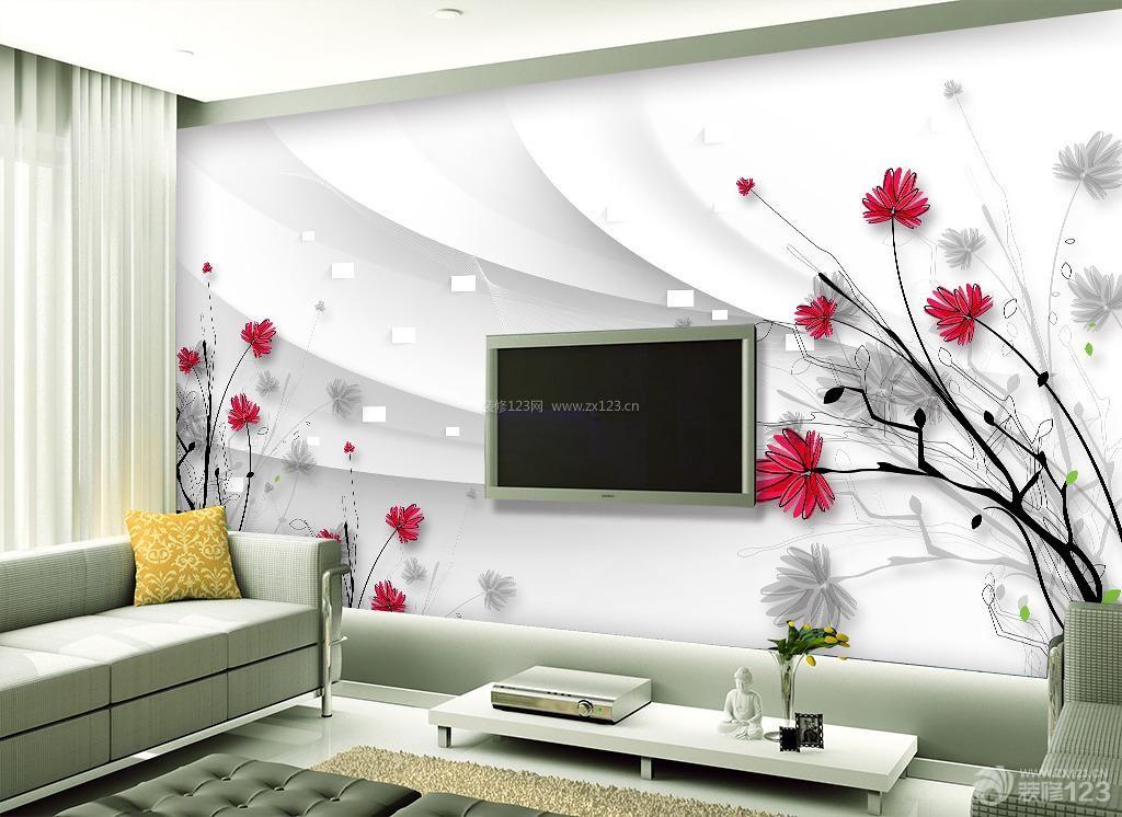 唯美高清手绘线描花朵3d电视背景墙装修效果图