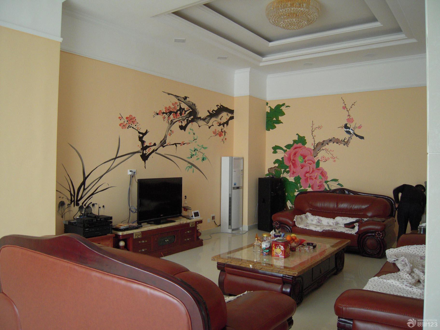 中式手绘电视背景墙装修实景效果图片