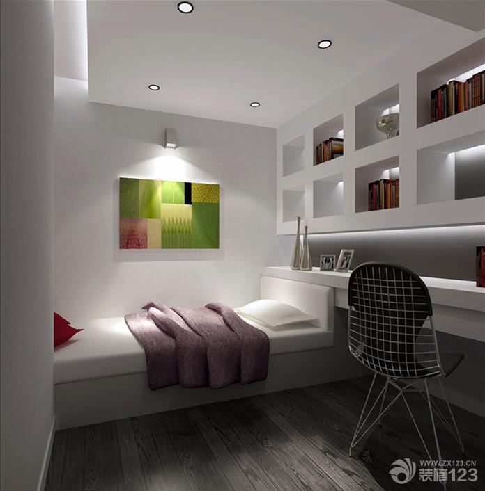 简约冷色调小户型卧室装修效果图片