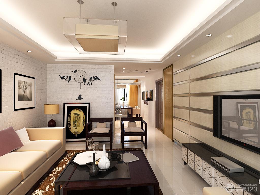 现代温馨两室两厅一厨一卫18平米客厅装修效果图设计