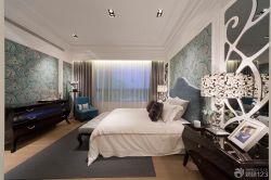 歐式新古典風格主臥室花紋壁紙裝修圖