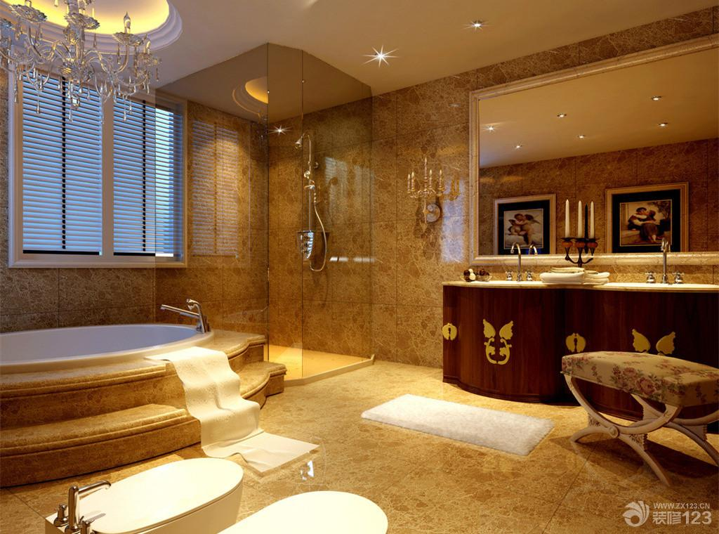 欧式卫生间淋浴房不锈钢玻璃隔断装修样板间