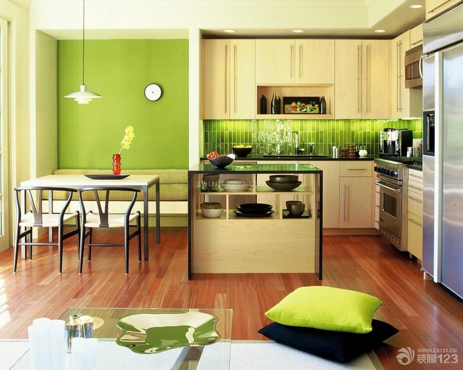小清新90平米复式楼厨房餐厅装修效果图