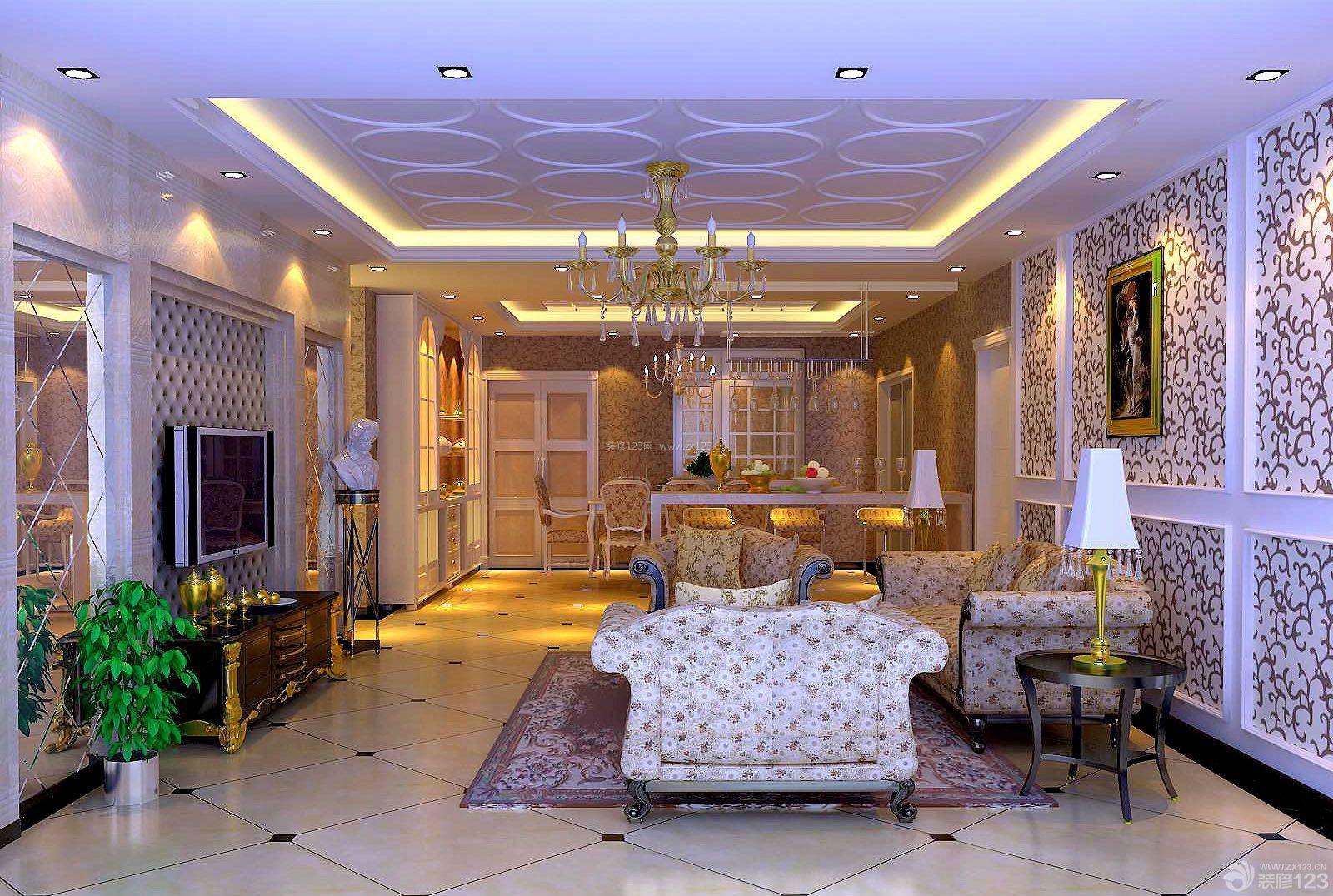 欧式田园风格三室两厅两卫样板房装修图片