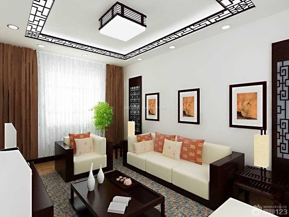 中式风格楼房客厅装修设计2014图片