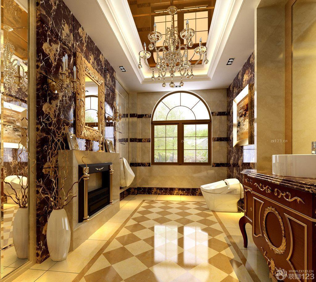 欧式风格别墅卫生间瓷砖拼花贴图