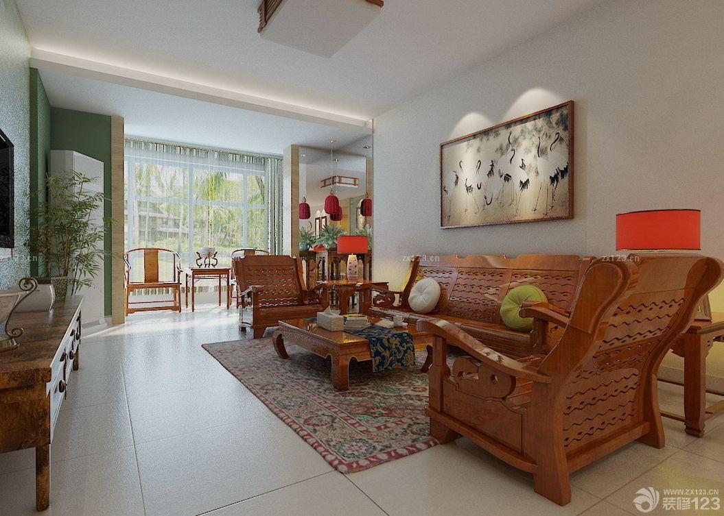 中式风格三室二厅一卫客厅实木家具装修实景图