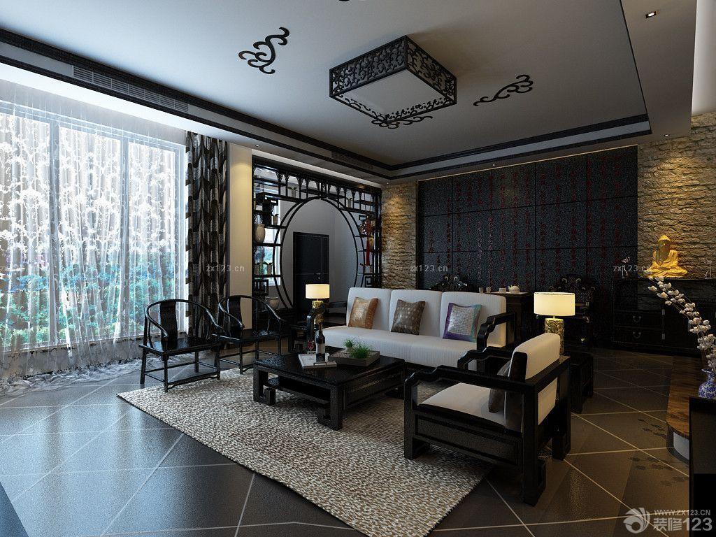 黑白中式混搭客厅实木博古架装修样板间