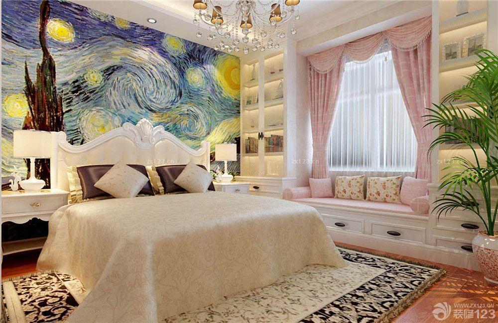 欧式风格家装卧室创意床头背景墙设计效果图片