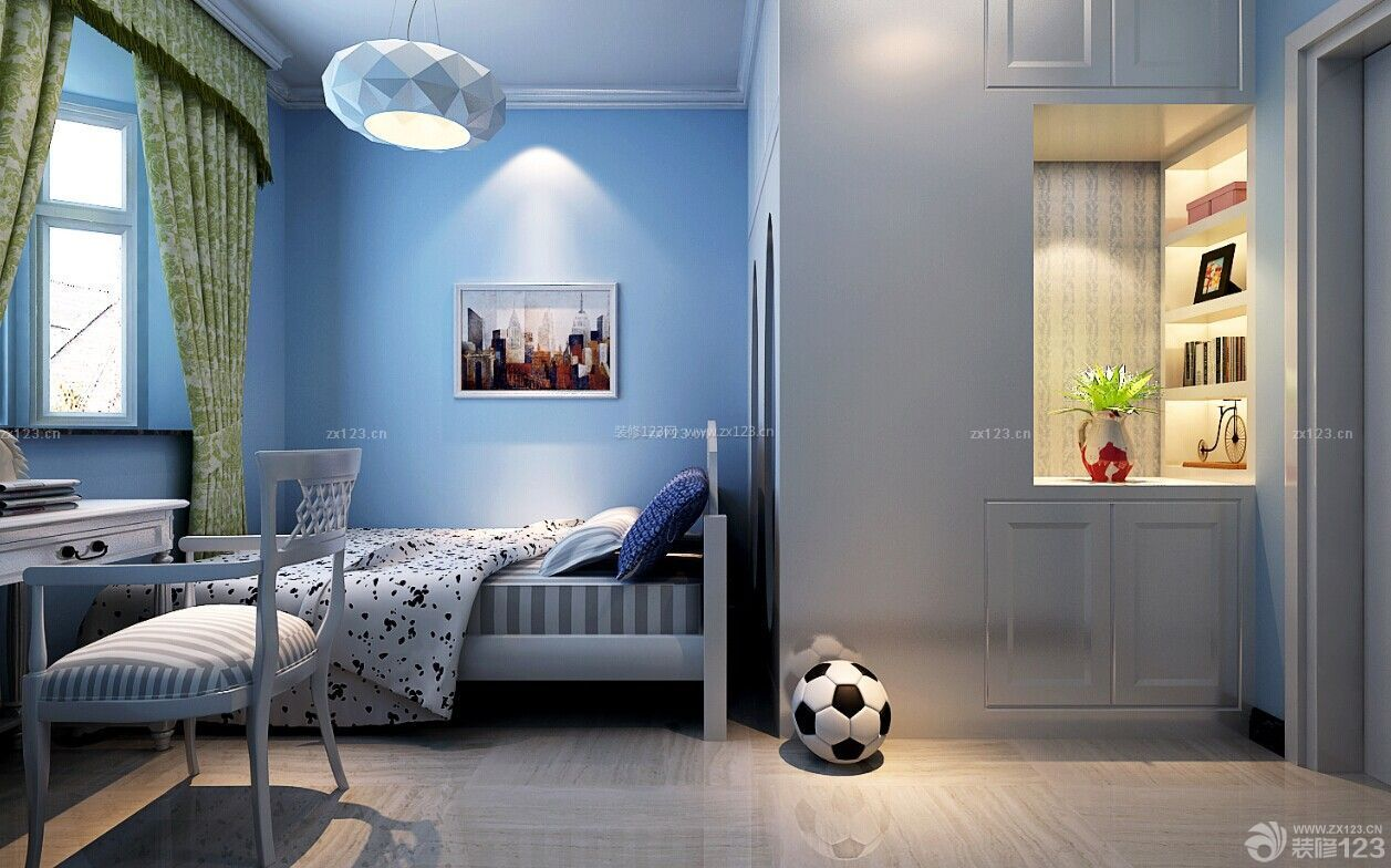蓝色调创意儿童房间装修效果图欣赏