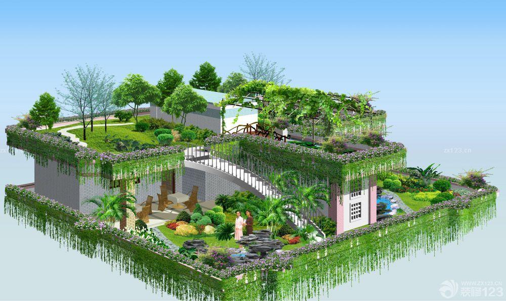 别墅屋顶花园景观设计效果图大全2014