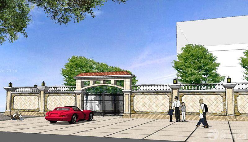 简欧风格别墅围墙大门设计效果图_装修123效果图