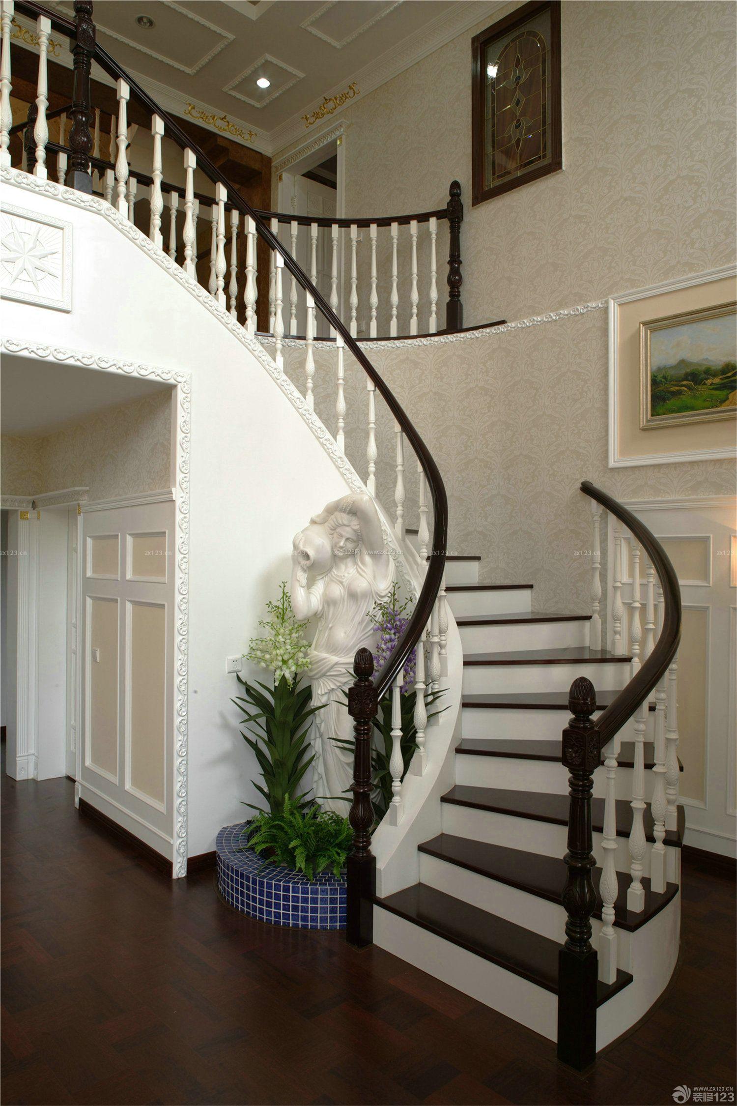 别墅室内旋转楼梯装修设计效果图大全