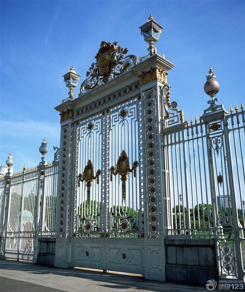 欧式风格不锈钢别墅围墙大门设计效果图