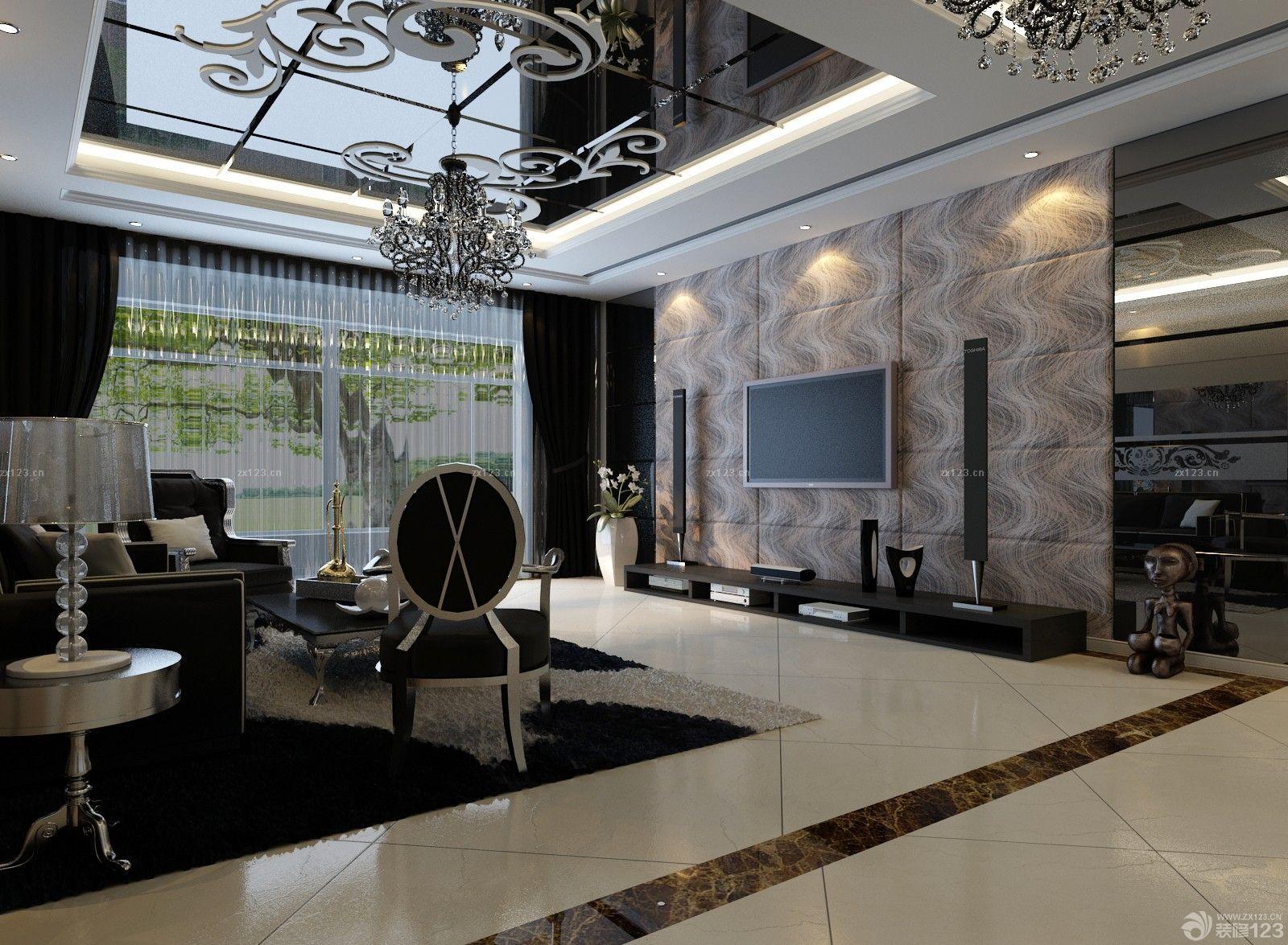冷色调家装新房室内客厅装修设计效果图