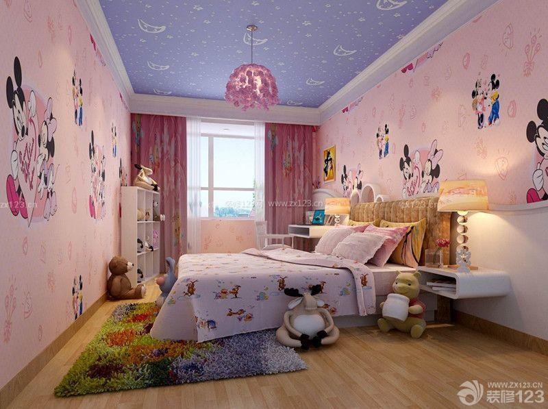 温馨可爱女儿童房长方形卧室装修图欣赏