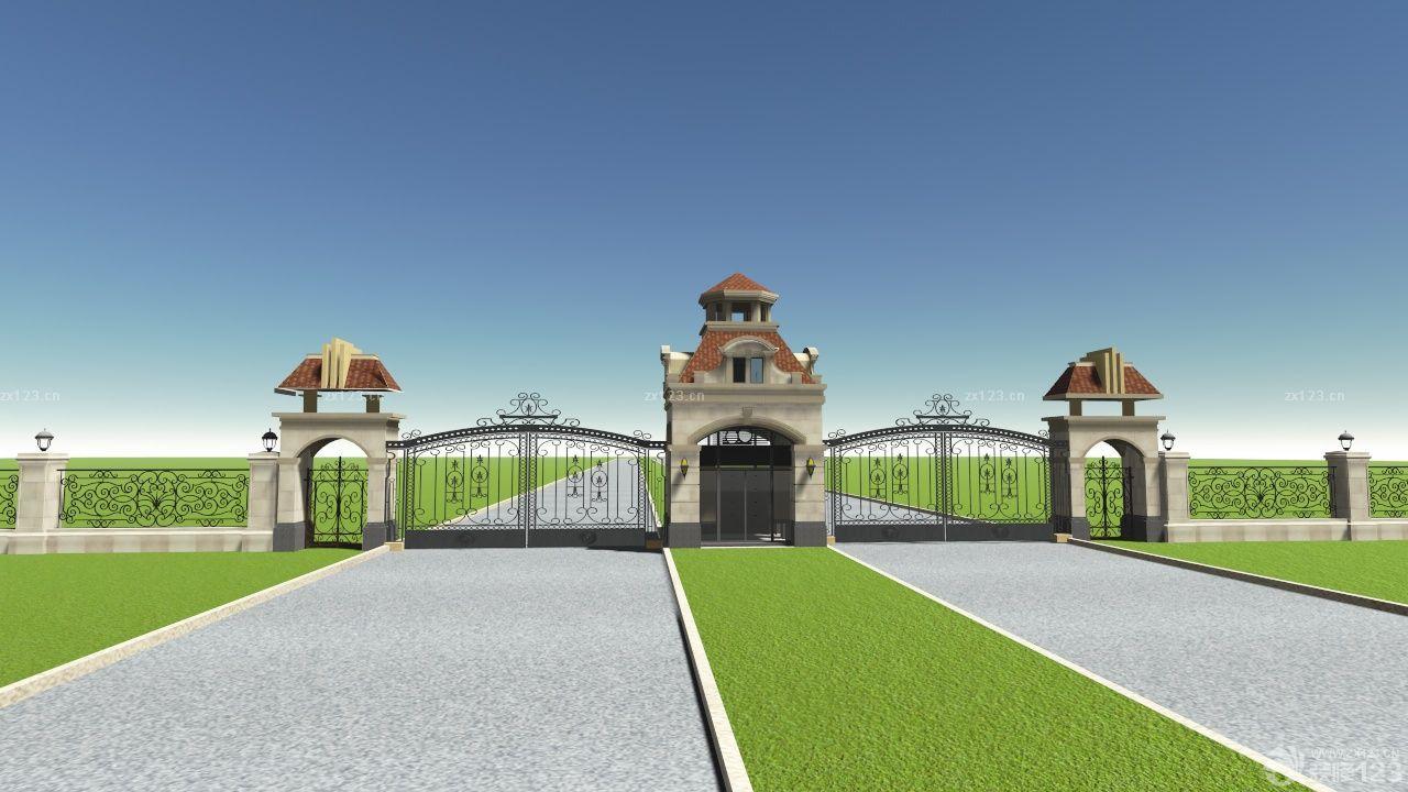 最新欧式风格不锈钢铁艺围墙大门设计效果图欣赏