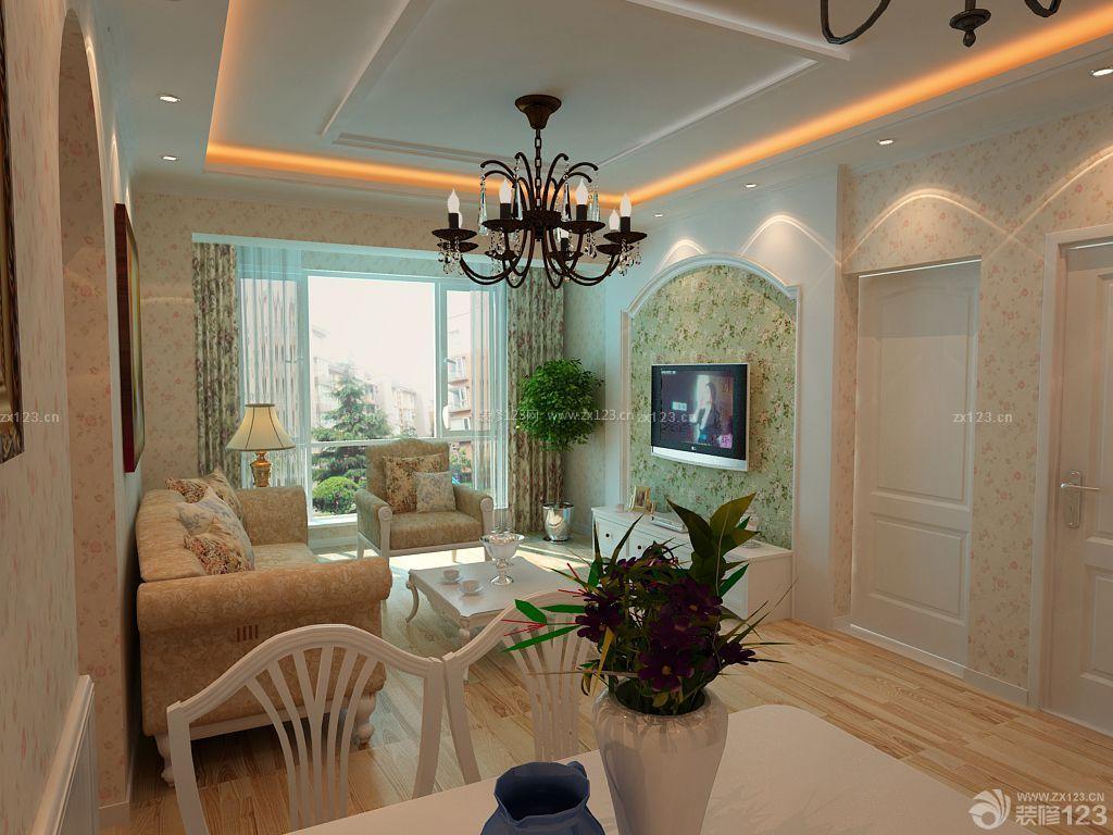 田园风格小户型婚房客厅石膏天花板吊顶装修图片