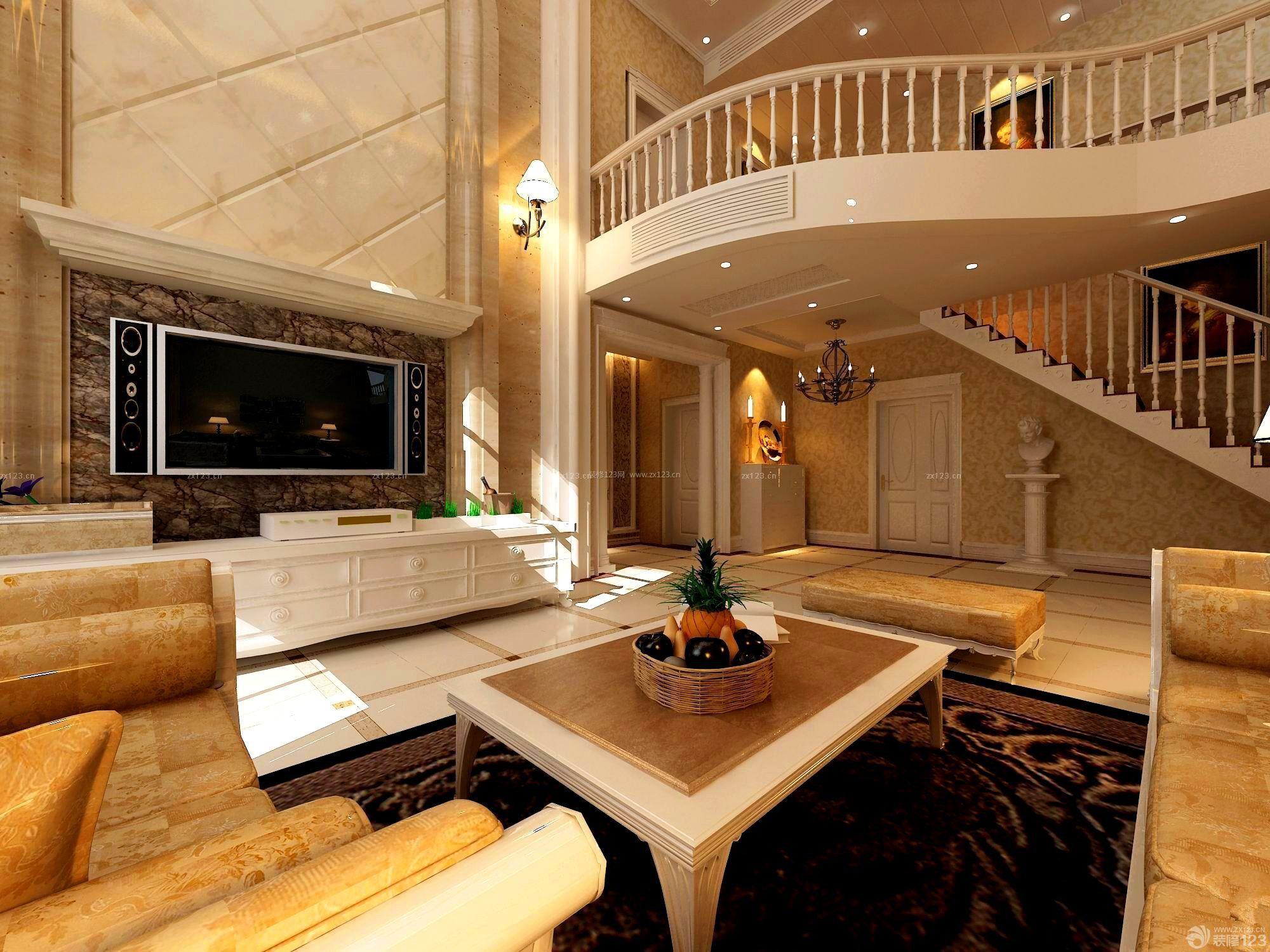 280平米复式楼挑空经典客厅装修图片图片