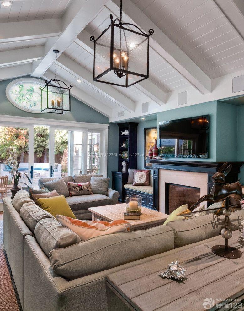 混搭风格小别墅室内尖顶客厅装修效果图