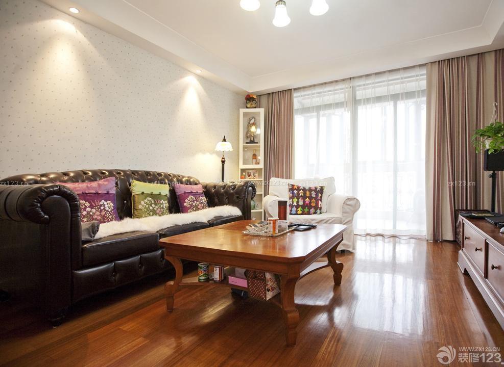 新中式风格休闲区布置深褐色木地板装修图