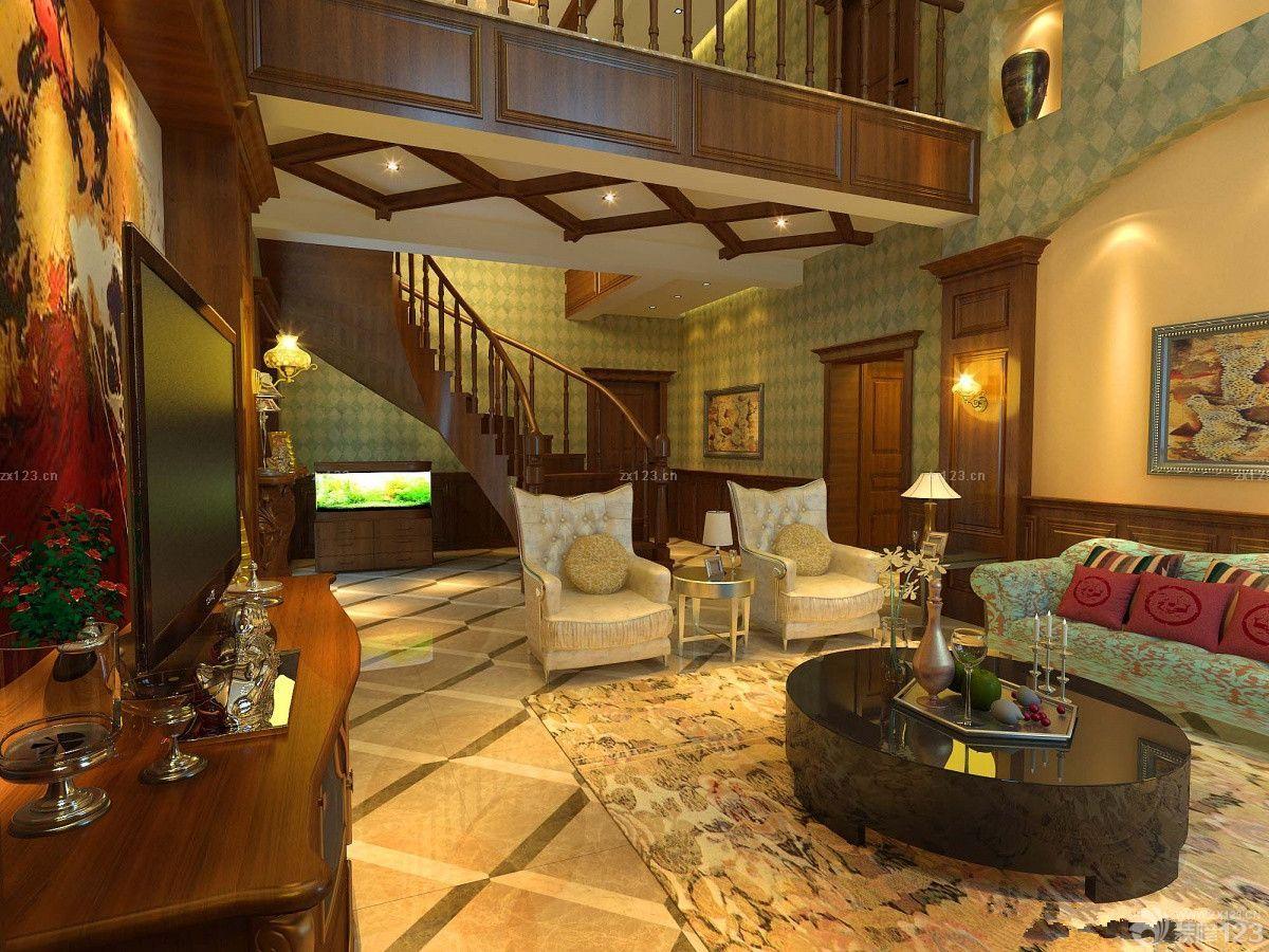 美式风格家装复式楼挑空客厅设计效果图图片