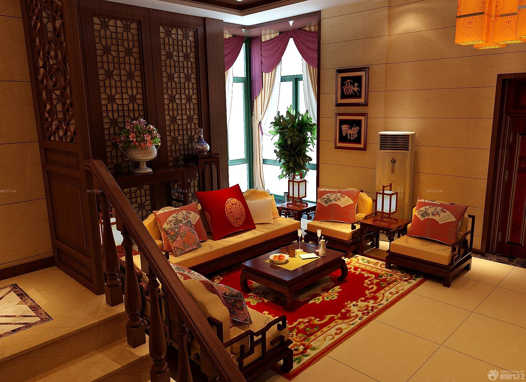 中式仿古风格复式楼结婚新房客厅装修设计图片图片