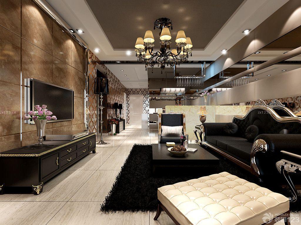 现代欧式混搭风格客厅电视背景墙仿古砖装修效果图
