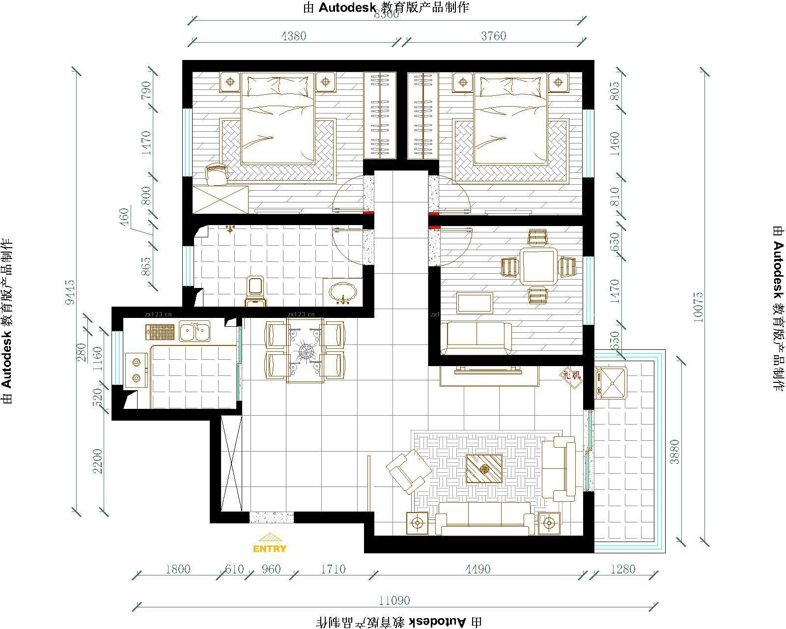 紫荆苑105平米三居室平面图-经艺设计方案平面图 新收楼楼盘室内设计