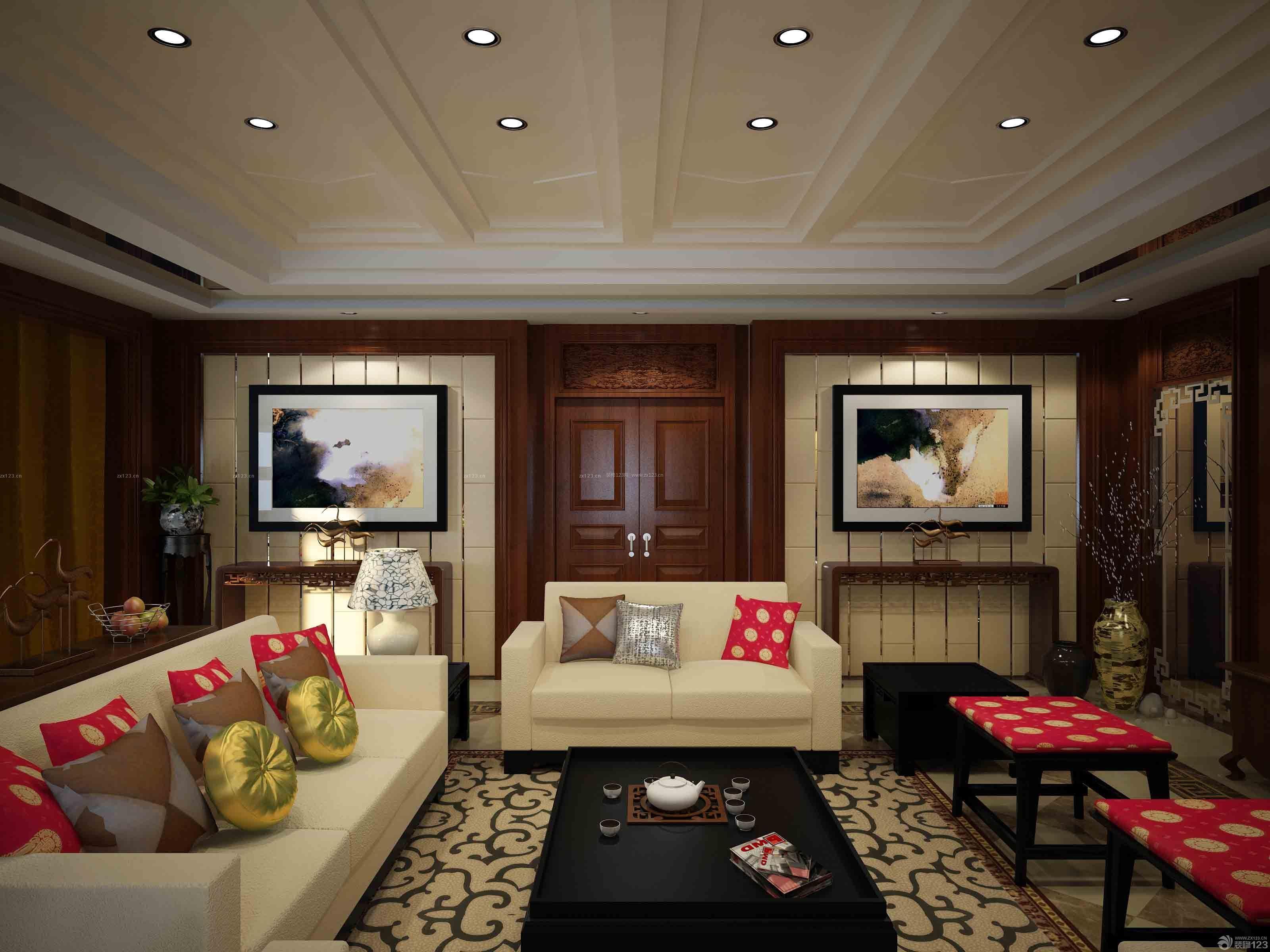 中式婚房客厅天花板装饰实景图