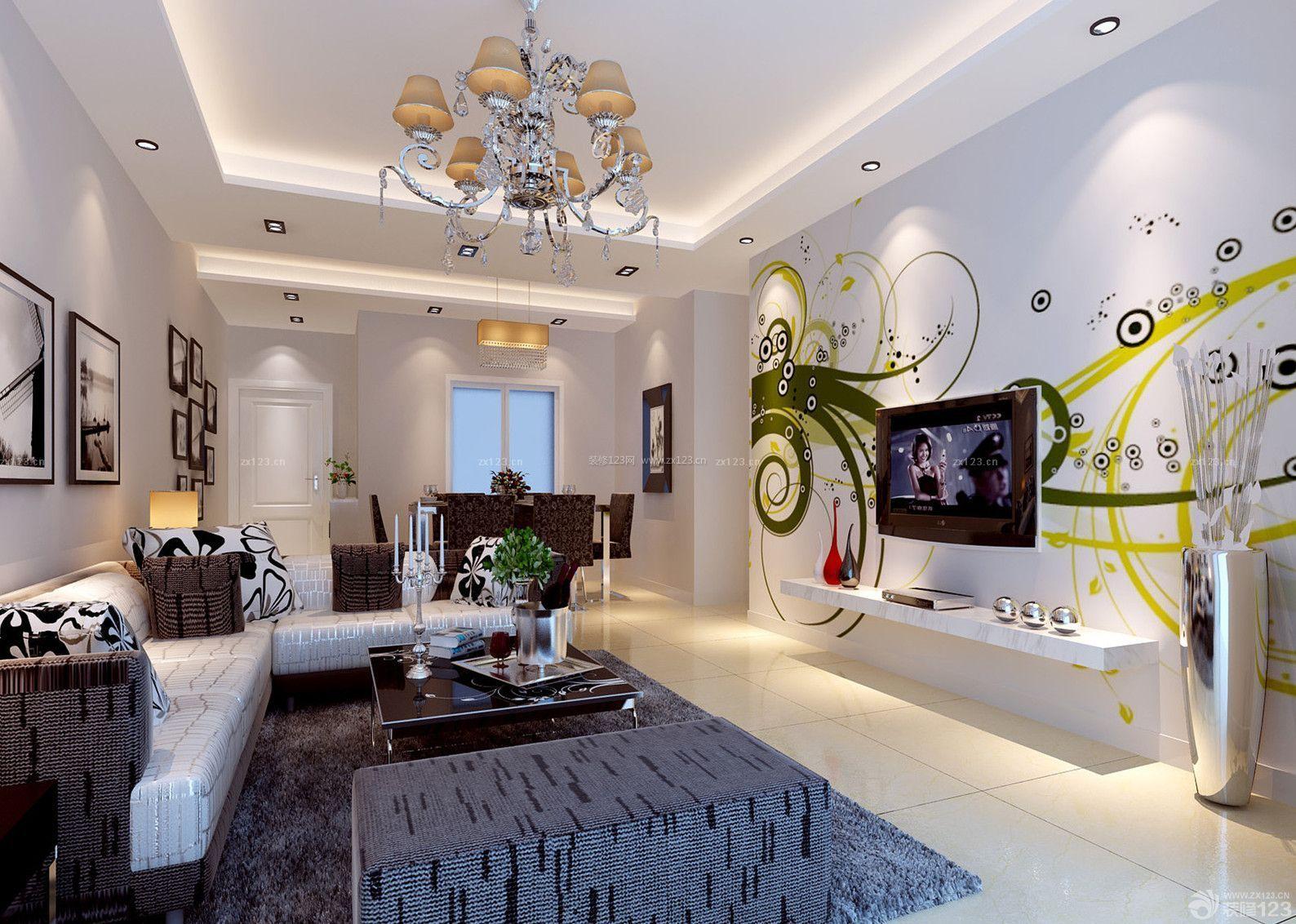现代简欧小户型婚房客厅天花板吊顶装修图片