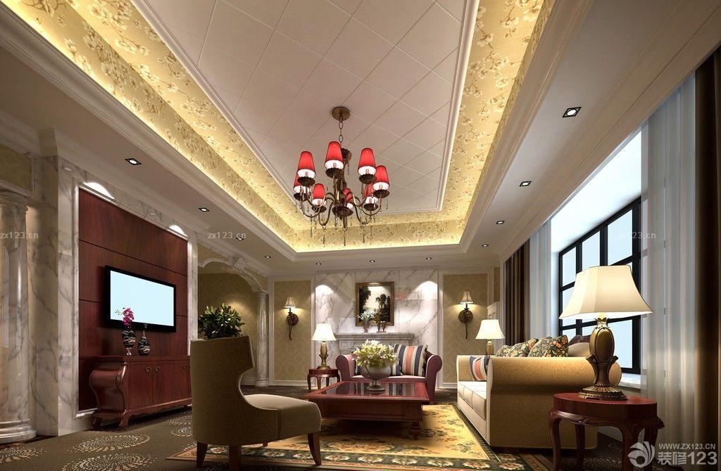 欧式风格新房40平客厅吊顶设计图片