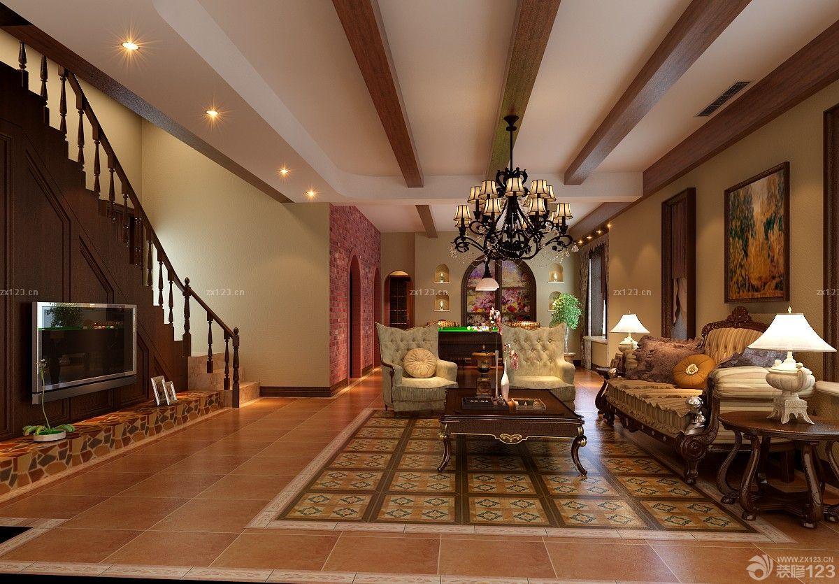 沉稳美式风格跃层客厅装修效果图大全2014图片图片