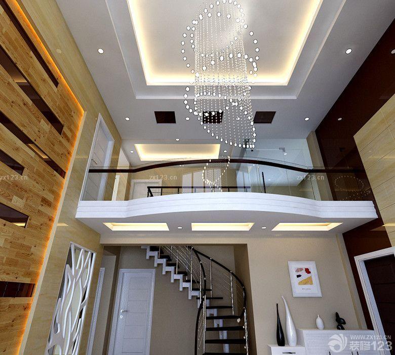 现代风格170平米复式楼中空客厅吊顶设计图片欣赏图片