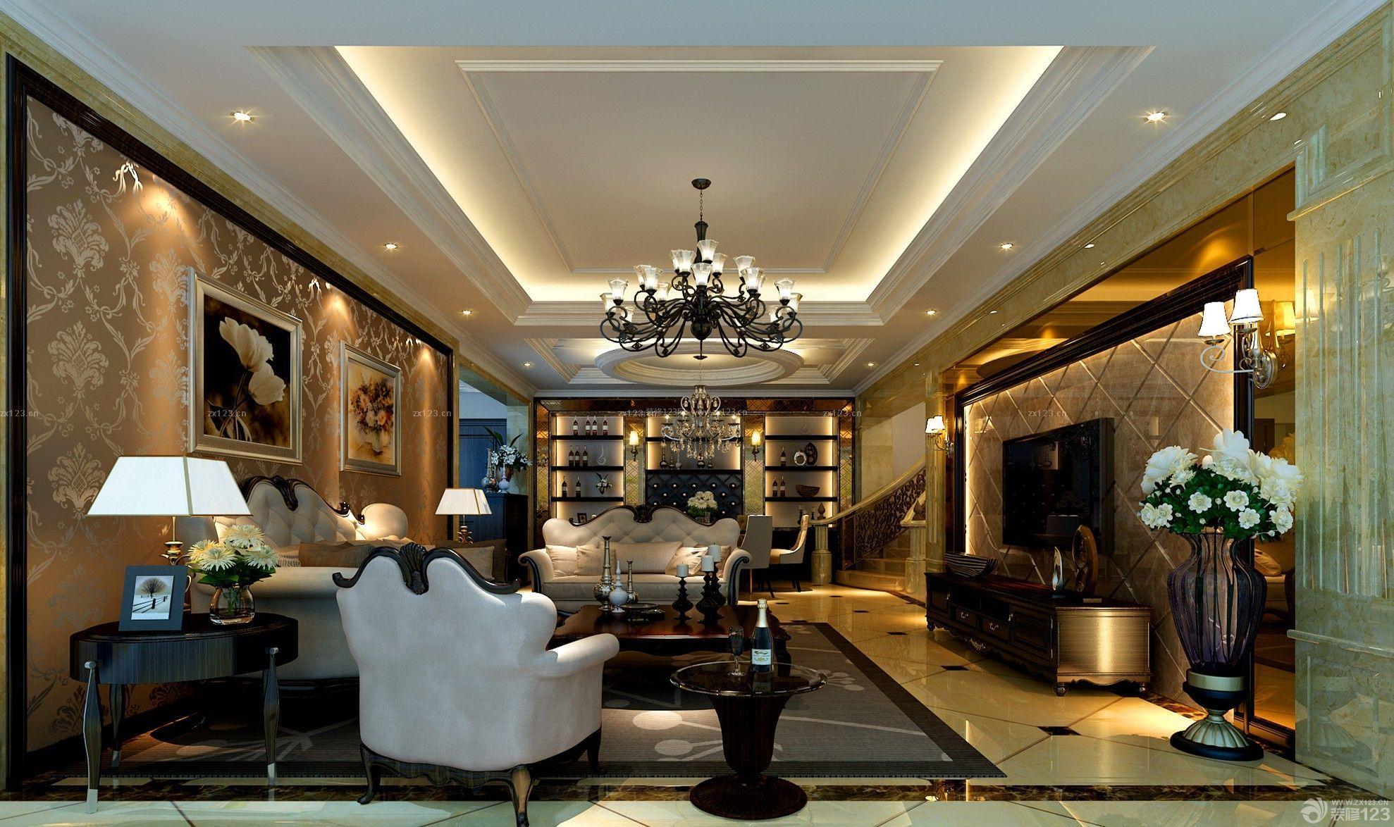 2014经典简欧风格楼中楼客厅吊顶设计图片