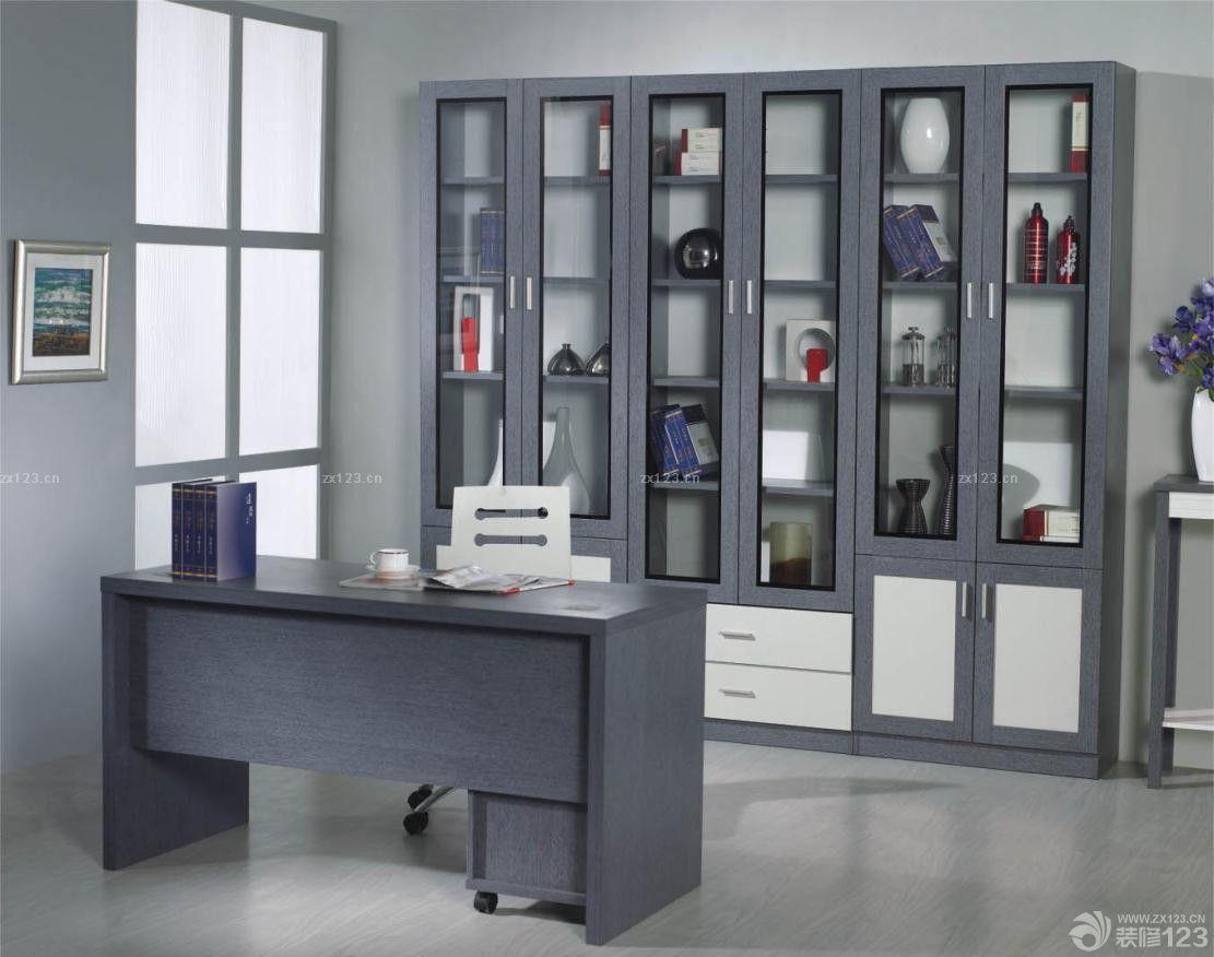 美式现代书柜书桌一体图片