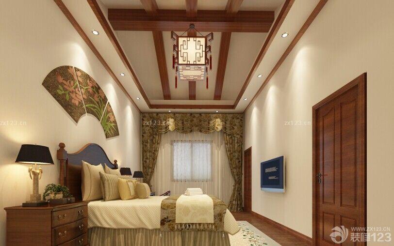 中式大卧室实木吊顶装修效果图